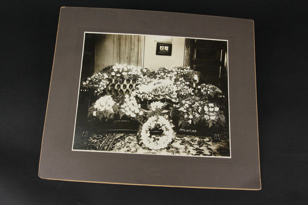 Antique Matted Funeral Flower Arrangement Photograph for Mother, Dated May 10th, 1913