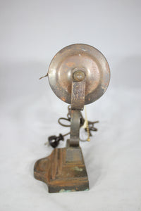 Antique Metal Desk Lamp with Cast Iron Art Deco Base