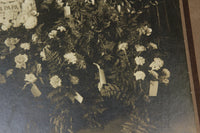 "Antique Matted Funeral Flower Arrangement Photograph for ""Our Papa"""
