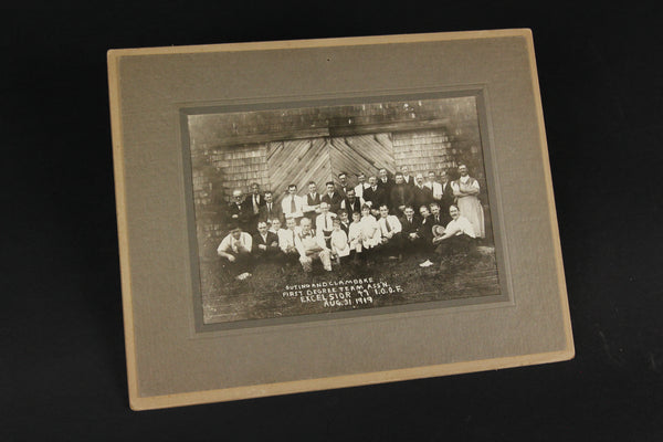 Matted Group Photograph of the Odd Fellows Excelsior 49 Lodge Outing & Clambake, August 31, 1919 #1