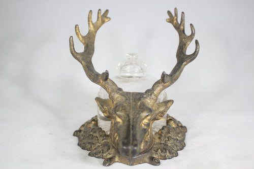 Antique Gilt Bronze 14-Point Buck Pen Rest Base with Original Glass Inkwell