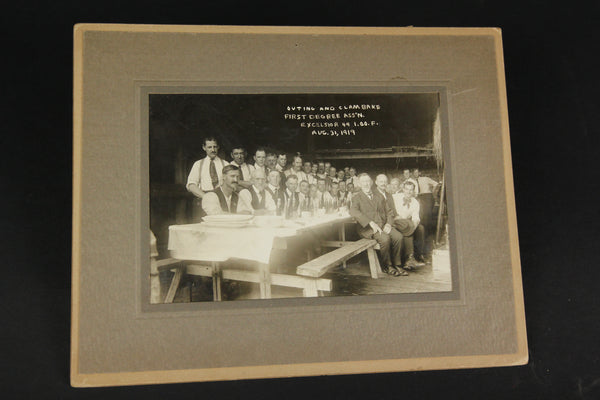 Matted Group Photograph of the Odd Fellows Excelsior 49 Lodge Outing & Clambake, August 31, 1919 #2