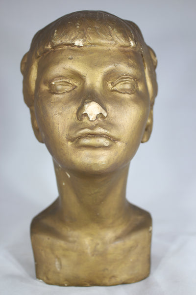 Gold Painted Plaster Bust of a Young Ballerina Girl
