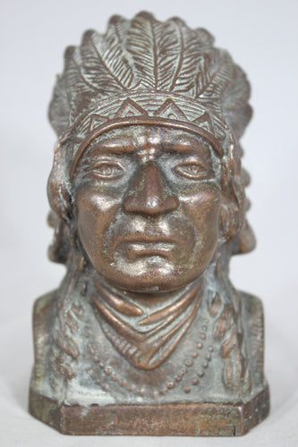 Bronzed Metal Native American Indian Chief Coin Bank
