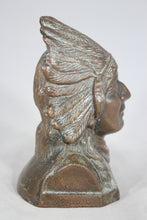 Load image into Gallery viewer, Bronzed Metal Native American Indian Chief Coin Bank