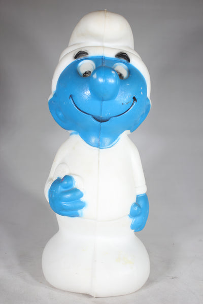 Blow Mold Smurf Coin Bank No. 25, Signed A.J. Renzi, Copyright Peyo 1982, 11""