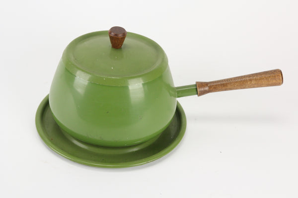 Mid-Century Green Aluminum Fondue Pot with Tray, Made in Japan