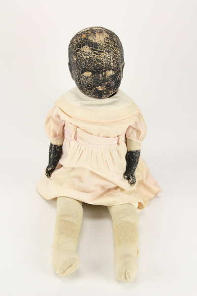 Antique Composition Black Baby Doll with Cloth Body and Vanta Clothes, 28""
