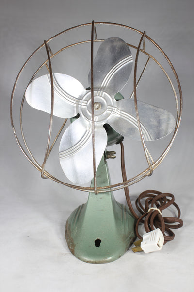 Dominion Brand Vintage Desk Fan with Art Deco Cast Iron Base