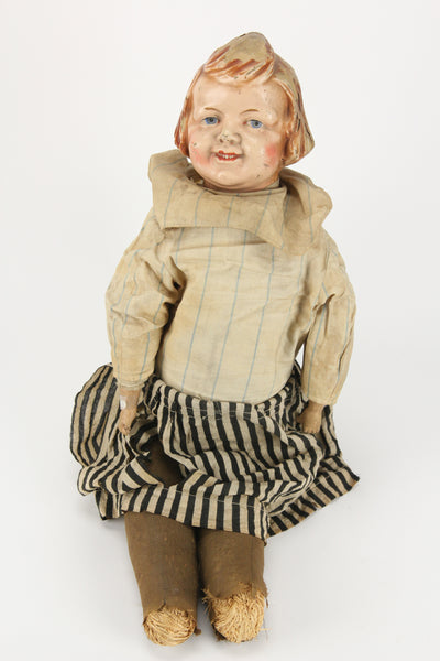Antique Composition Creepy Little Girl Doll with Striped Clothes, 24""