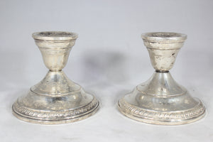 "Pair of Weighted Sterling Silver 3.25"" Candlesticks"
