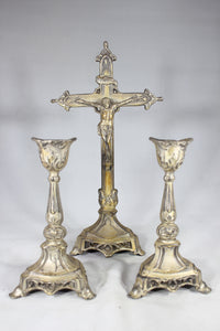 Free Standing Crucifix with Two Matching Candlesticks, Made in the USA