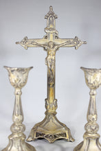 Load image into Gallery viewer, Free Standing Crucifix with Two Matching Candlesticks, Made in the USA