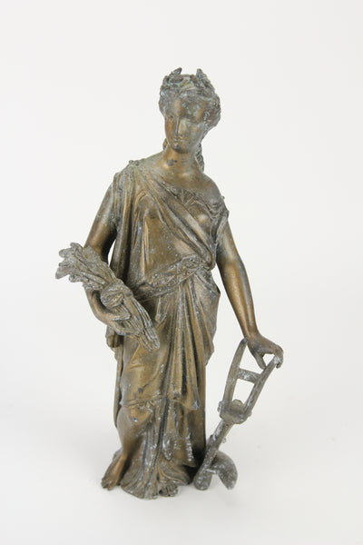 Antique Bronzed Pot Metal Clock Topper Statue of Goddess with Wheat and Plow