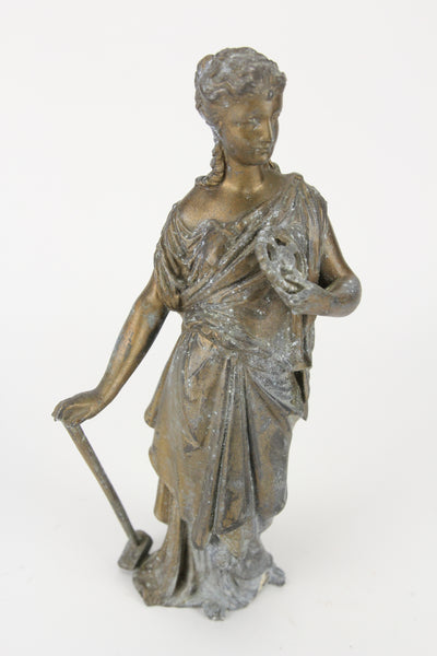 Antique Bronzed Pot Metal Clock Topper Statue of Goddess with a Gear and Blacksmith Hammer