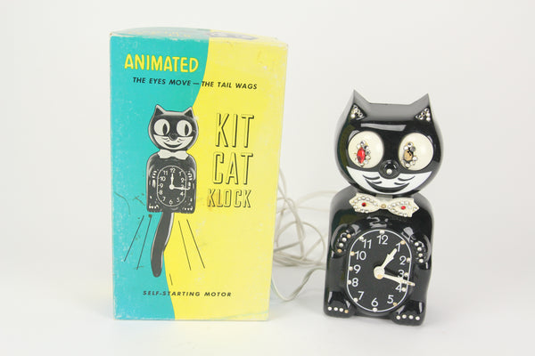 Animated Vintage Jeweled Kit Cat Clock in Original Box (Nonfunctioning)