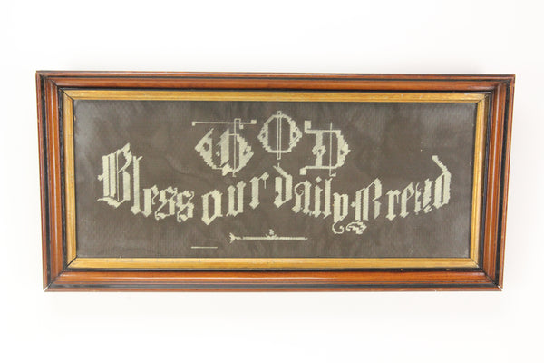 God Bless Our Daily Bread Victorian Needlepoint Cross Stitch in Wall Hanging Frame - 23.25 x 11""