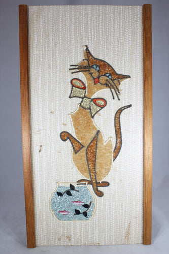 Mid-Century Cat with Fish Tank Wall Hanging, 9.5x18