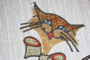 Mid-Century Cat with Fish Tank Wall Hanging, 9.5x18""