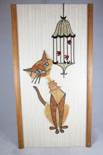 Mid-Century Cat with Bird Cage Wall Hanging, 9.5x18