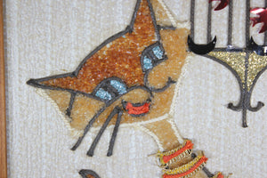 Mid-Century Cat with Bird Cage Wall Hanging, 9.5x18""