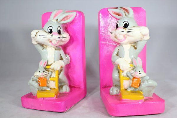 Warner Bros. Bugs Bunny Plaster Bookends by Holiday Fair, 1970