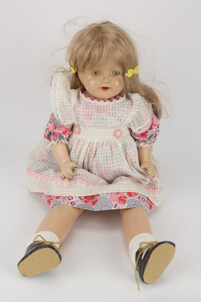 Composition Little Girl Baby Doll With Blonde Wig, Moving Blue Eyes, and Full Dress, 21""