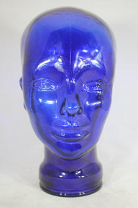 Cobalt Blue Glass Vintage Mannequin Head Hat Display