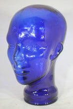 Load image into Gallery viewer, Cobalt Blue Glass Vintage Mannequin Head Hat Display