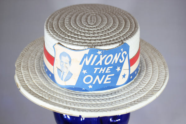 Nixon's the One - Vintage Richard Nixon Plastic Campaign Hat, 1968