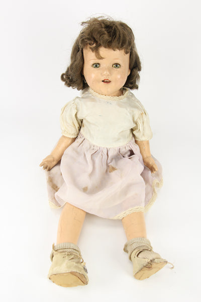 Composition Little Girl Baby Doll with Dress, Moving Blue Eyes, and Curly Brunette Wig, 23""