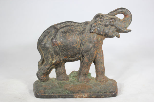 Cast Iron Elephant Bookend or Doorstop with Green Paint