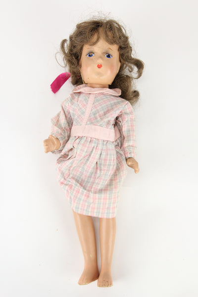 Composition Little Girl Baby Doll With Plaid Dress and Curly Brunette Wig, 15""