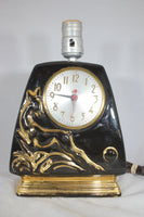 Mid-Century Art Deco Cermaic Lamp and Clock with Golden Deer