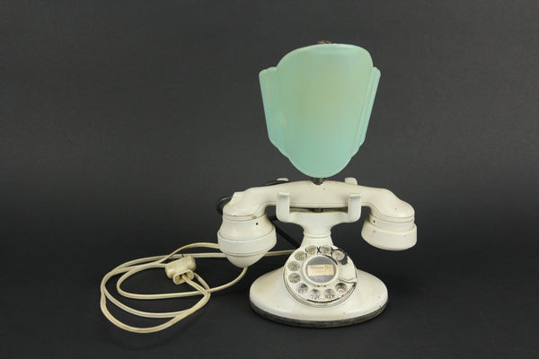 Antique White Rotary Phone Accent Lamp Conversion with Art Deco Green Shade