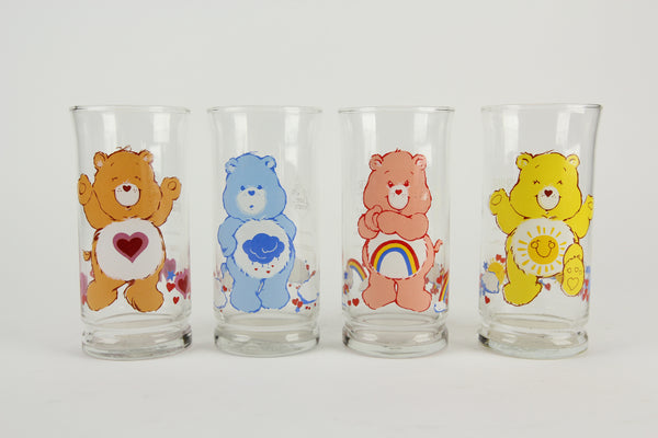 Limited Edition Care Bears Pizza Hut Collector's Series Glass Cups, Set of 4, 1983