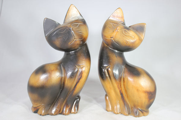 Pair of Mid-Century Teak Cat Statues, Made in Philippines