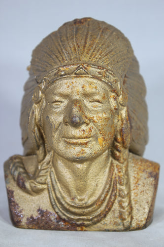 Gilt Cast Iron Native American Indian Chief Coin Bank, Indian Head National Bank