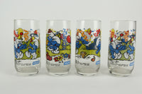 Officially Licensed Smurfs Collector's Glass Cups, by Peyo, Set of 4, 1983