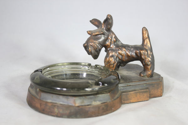 Brass Scottie Dog Ashtray Holder with Glass Ashtray