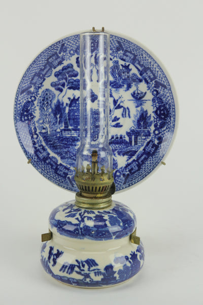 Blue and White Porcelain MIniature Oil Kerosene Lamp with Plate & Hanger, Japan