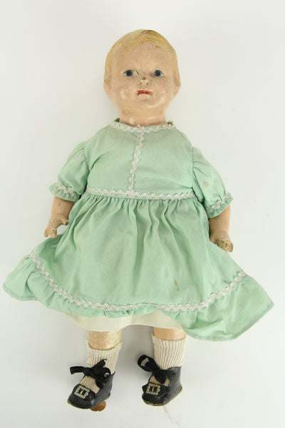 "Early Effanbee ""Patsy"" Composition Doll with Green Dress and Undergarments, 13"""