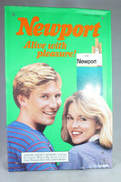 "Newport Cigarettes ""Alive with Pleasure!"" Tin Advertising Sign, 1987"
