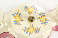 Vintage Japanese Lusterware Porcelain Wall or Ceiling Mount Lighting Fixture