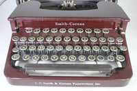 Smith-Corona Model S-C Manual Portable Typewriter in Maroon with Case, 1930s