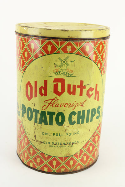 Old Dutch Flavorized Potato Chips Vintage Full Pound Tin, Minneapolis, Minn.