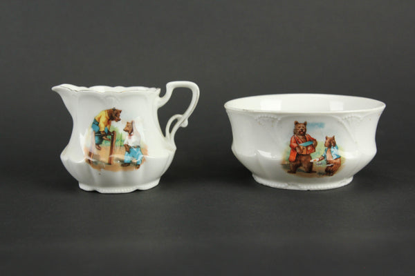 Porcelain Creamer and Sugar Bowl Set with Playful Bears Motif