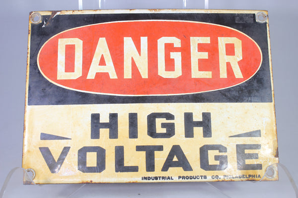 "Antique ""Danger High Voltage"" Porcelain Safety Sign by Industrial Products Co."