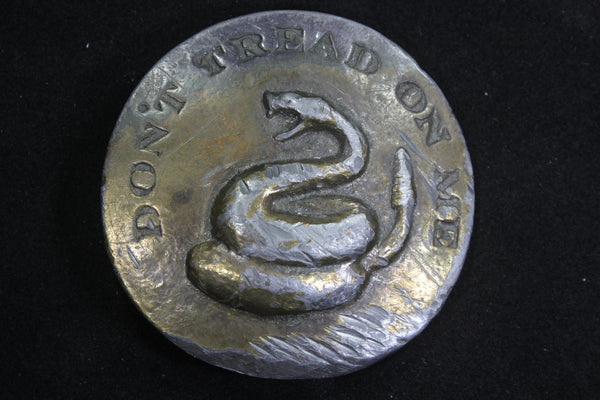 Don't Tread on Me Solid Brass Belt Buckle with Snake