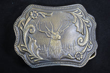 Load image into Gallery viewer, Proud Elk with Floral Pattern Solid Brass Belt Buckle